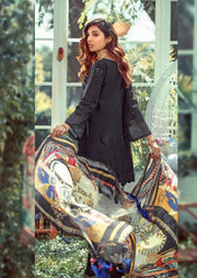 01 Unstitched Elaf Inspired Chickenkari Linen Suit with woolen shawl - Memsaab Online