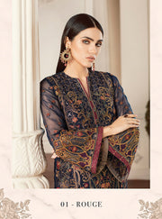 01 Rouge Chantelle Embroidered Chiffon - Memsaab Online