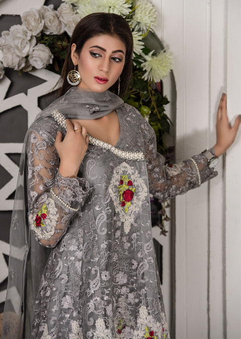 Rosemary - Grey - Memsaab Exclusive Ready to Wear Eid Collection - Partywear Net Organza Dresses - Memsaab Online