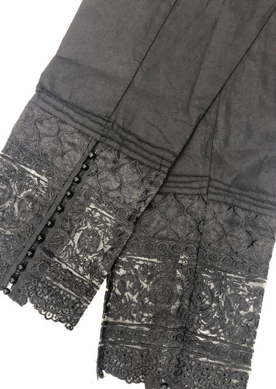 DXT201 Black Embroidered Cotton Trouser - Memsaab Online