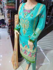 SDQ55 Readymade Sea Green Premium Embroidered Lawn Suit - Memsaab Online