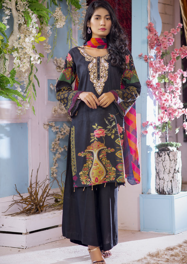 EST203 - Estelle Vol 2 - Readymade Premium Winter Linen Suit with Handwork - Pakistani Designerwear - Memsaab Online