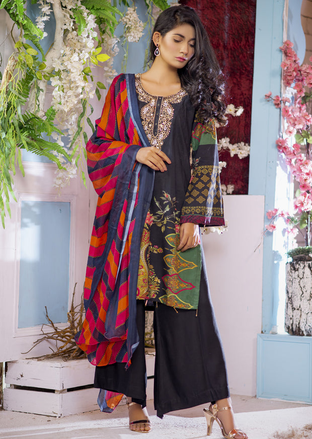EST203 - Estelle Vol 2 - Readymade Premium Winter Linen Suit with Handwork - Pakistani Designerwear