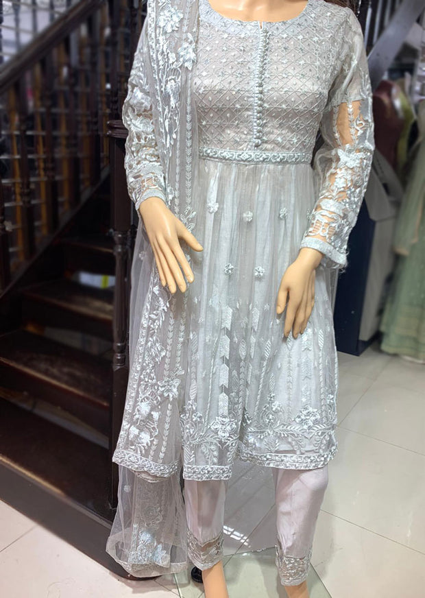 2069 Grey Readymade Formal Shaposh Net Frock Suit - Memsaab Online