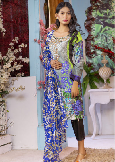 EST209 - Estelle Vol 2 - Readymade Premium Winter Linen Suit with Handwork - Pakistani Designerwear