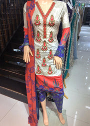 AMT1921 Gold Readymade Embroidered Lawn Dress - Memsaab Online