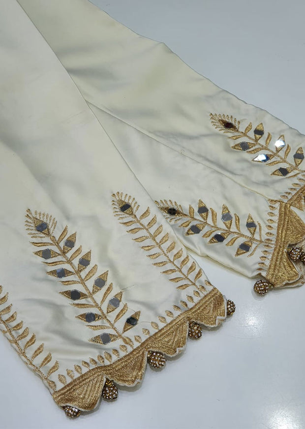 DXT213 Cream Silk Mirror Embroidered Trouser - Memsaab Online