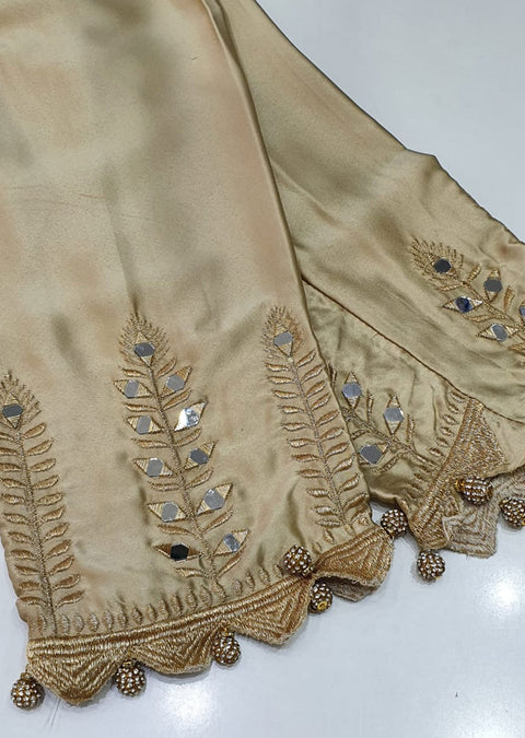 DXT213 Gold Silk Mirror Embroidered Trouser - Memsaab Online