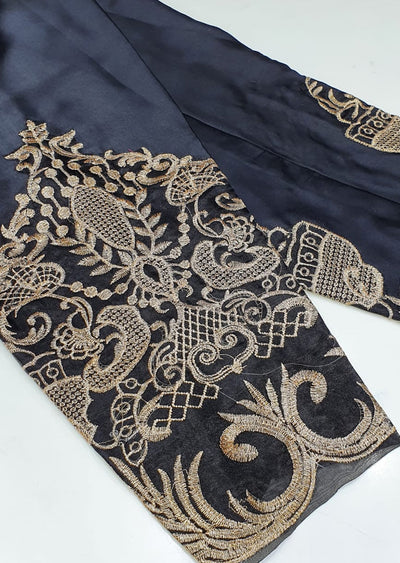 DXT214 Black Silk Embroidered Trouser - Memsaab Online