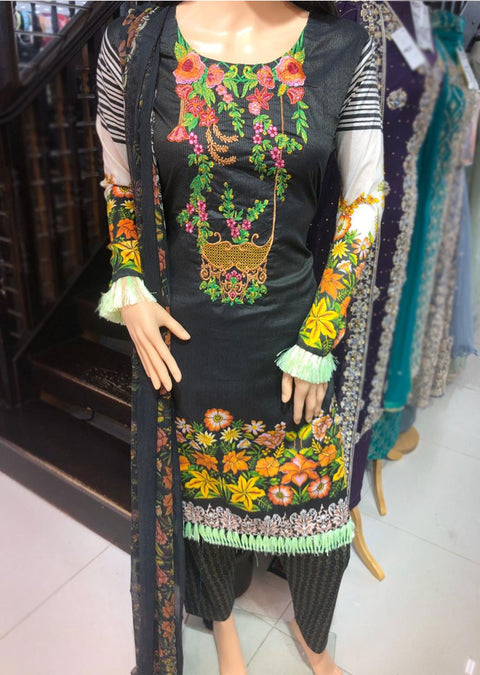 AMT11005 Black Readymade Embroidered Lawn Suit - Memsaab Online