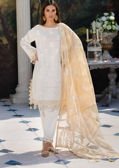 2203-DREAMY-WHITE MOTIFZ EMBROIDERED LAWN 2019 - Pakistani Luxury lawn chicken salwar kameez designer - Memsaab Online