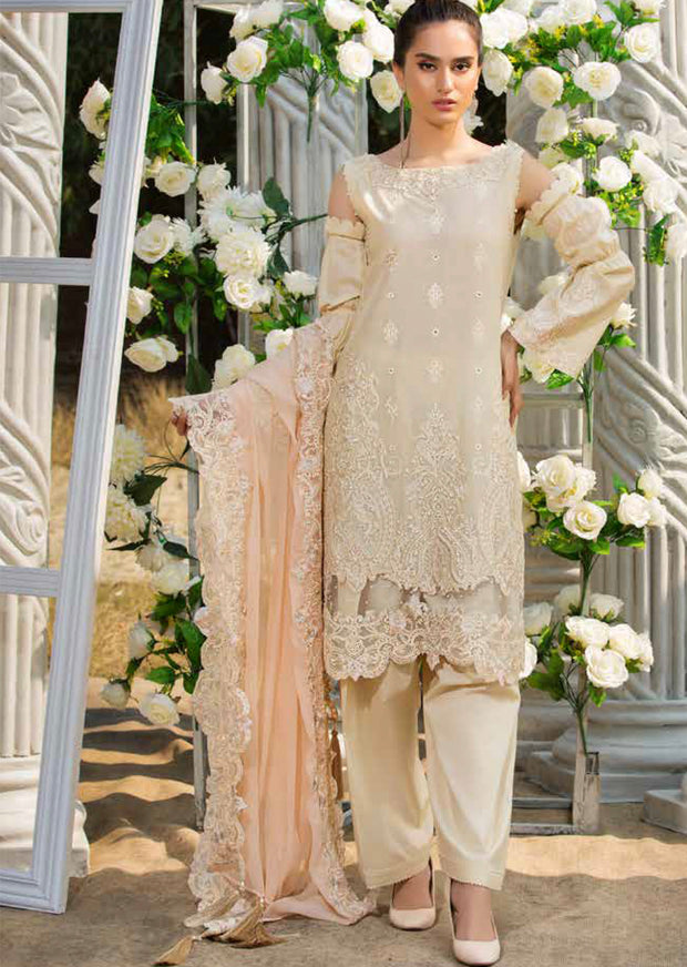 2204-LACY-CREAM MOTIFZ EMBROIDERED LAWN 2019 - Pakistani Luxury lawn chicken salwar kameez designer - Memsaab Online