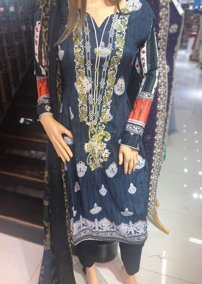 AMT1923 Navy Readymade Embroidered Lawn Dress - Memsaab Online