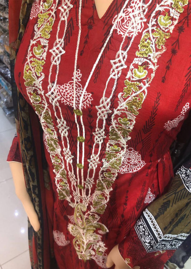 AMT1911 Red Readymade Embroidered Lawn Suit - Memsaab Online