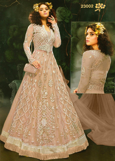 ZZ23002 Unstitched Zareen- Peach - Zoya Amrose Replica - Indian Designer heavily embroidered net dress - Memsaab Online