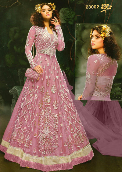 ZZ23002 Unstitched Zareen- Pink - Zoya Amrose Replica - Indian Designer heavily embroidered net dress - Memsaab Online