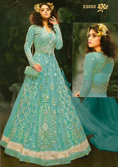 ZZ23002 Unstitched Zareen- Turquoise - Zoya Amrose Replica - Indian Designer heavily embroidered net dress - Memsaab Online