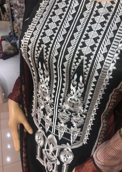 AMT11010 Black Readymade Embroidered Lawn Suit - Memsaab Online