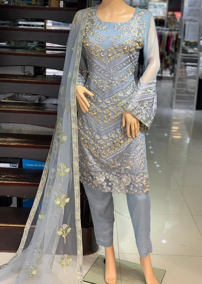 AD293 Readymade Grey Suit by Sofia Shaan - Memsaab Online