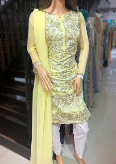 SD11 Readymade Yellow Embroidered Organza Suit - Memsaab Online