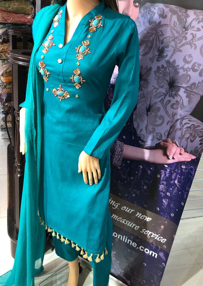 SD01 Teal Readymade Lawn Suit with Handwork - Memsaab Online