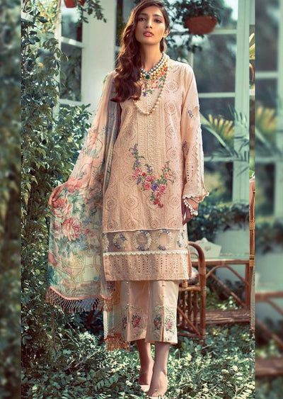 02R Readymade Elaf Inspired Chickenkari Linen Suit with woolen shawl - Memsaab Online