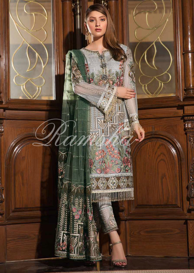 F - 1602 Ramsha Vol 16 - Readymade Eid Embroidered Chiffon Collection 2019 Pakistani Designer wear - Memsaab Online