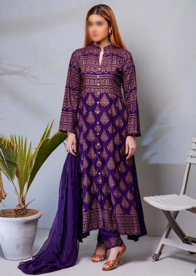 HK01 Readymade Purple Printed Linen Suit - Memsaab Online