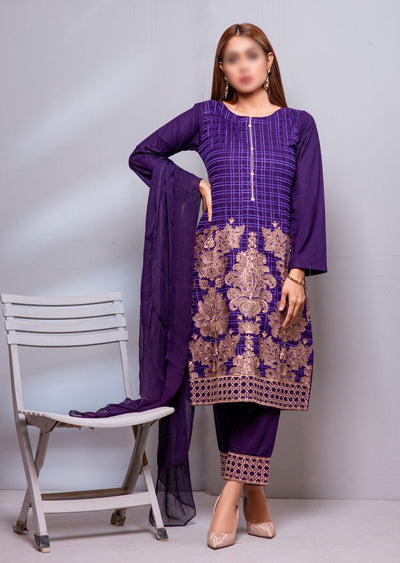 HK07 Readymade Purple Embroidered Linen Suit - Memsaab Online