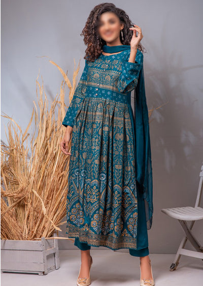 HK03 Readymade Teal Pleated Long Linen Suit - Memsaab Online