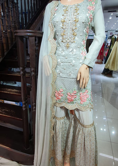 ZN31 Readymade Grey Chiffon Shararah Suit - Memsaab Online