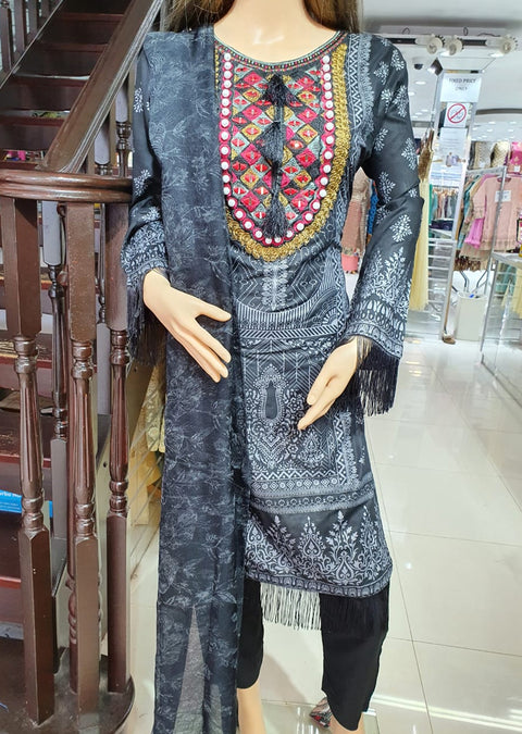 SM602 Simrans Readymade Linen Embroidered Suit - Memsaab Online