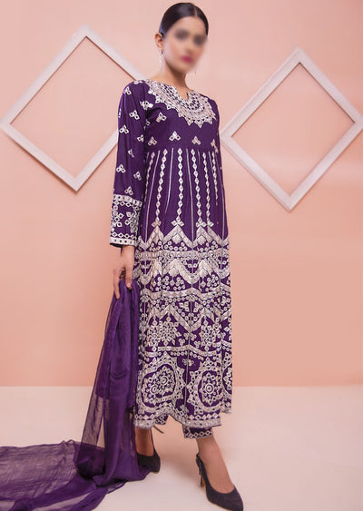 HK39 Purple Linen Mirror Long Dress - Memsaab Online