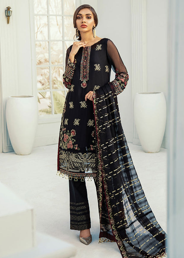 02 - Benafsha - Unstitched - Janaan Luxury Chiffon Collection 2020 - Memsaab Online
