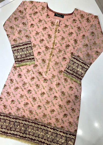 MR908 Readymade Pink Paper Cotton Kurti - Memsaab Online