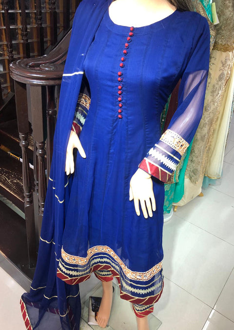 MR1121 Readymade Blue Gown - Memsaab Online