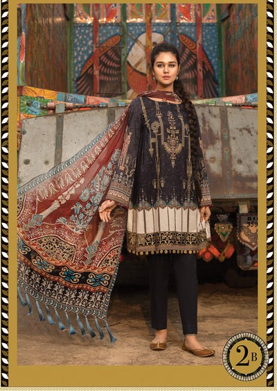 2B Maria B M Prints Unstitched 2019 - Pakistani Designer Embroidered Lawn Suit Spring / Summer UK DELIVERY - Memsaab Online