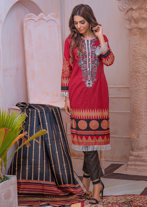 AMT21006 - Red Readymade Embroidered Premium Lawn Suit - Memsaab Online