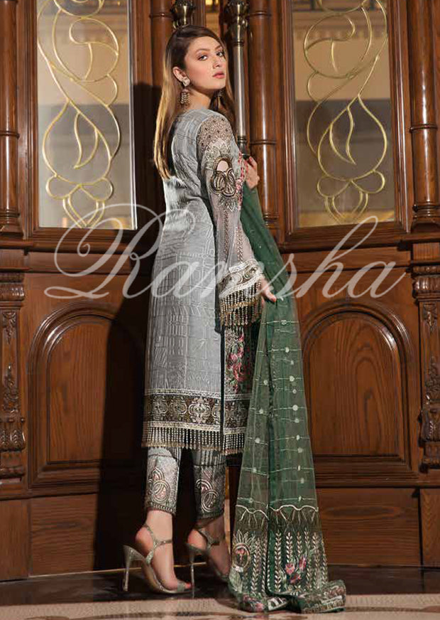 F - 1602 Ramsha Vol 16 - Eid Embroidered Chiffon Collection 2019 Pakistani Designer wear - Memsaab Online