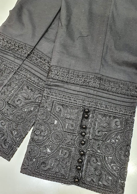 DXT01 Black Embroidered Trouser - Memsaab Online