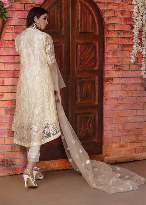 Panache - Cream - Memsaab Exclusive Ready to Wear Eid Collection - Partywear Net Organza Dresses - Memsaab Online