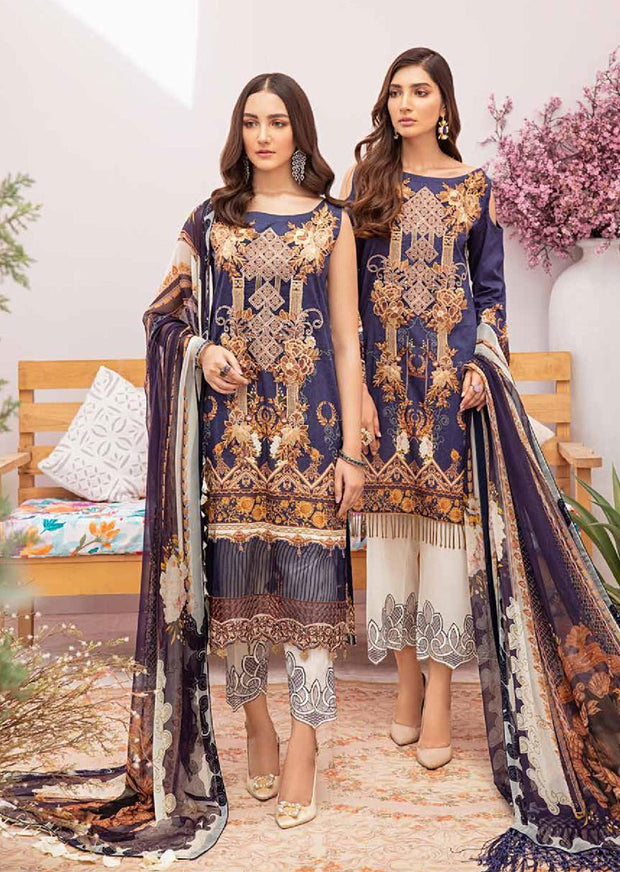 C-301 Unstitched Chevron Luxury Lawn Vol 3 - Memsaab Online