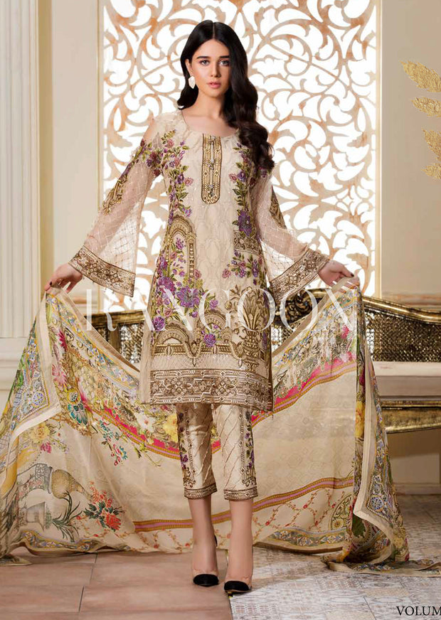 Gilded Gardenia - Ramsha Rangoon vol 3 Unstitched Pakistani designer chiffon collection wedding Eid Partywear - Memsaab Online