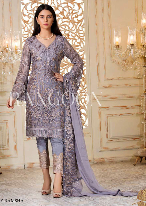 D-302 Lilac Lea - Ramsha Rangoon Unstitched vol 3 Pakistani designer chiffon collection wedding Eid Partywear - Memsaab Online