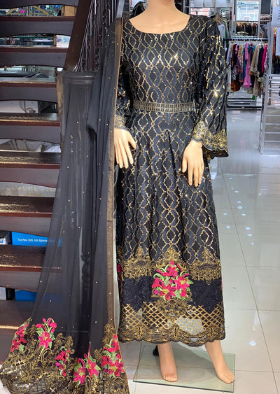 AD303 Readymade Black Chiffon Dress by Sofia Shaan - Memsaab Online