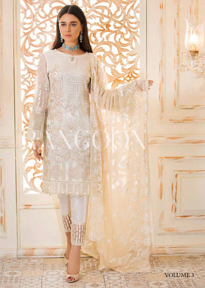 D-304 Ivory Grace - Ramsha Rangoon vol 3 Unstitched Pakistani designer chiffon collection wedding Eid Partywear - Memsaab Online