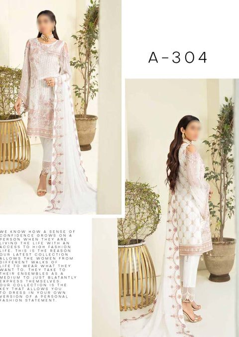 RA-304 - Unstitched - Chevron Vol 3 Chiffon Collection by Ramsha 2021 - Memsaab Online