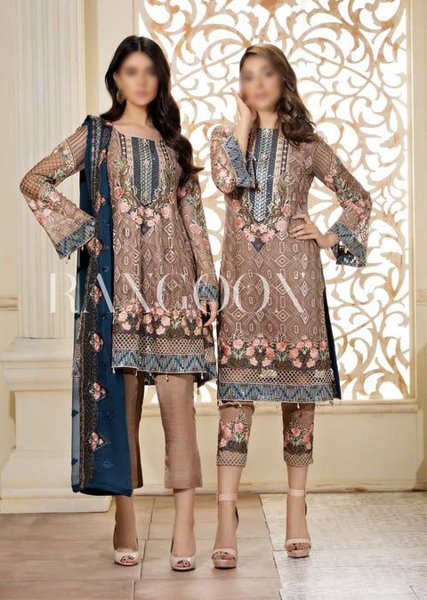 D-305 Mystic Sea - Ramsha Rangoon vol 3 READYMADE Pakistani designer chiffon collection wedding Eid Partywear - Memsaab Online