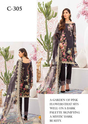 C-305 Unstitched Chevron Luxury Lawn Vol 3 - Memsaab Online