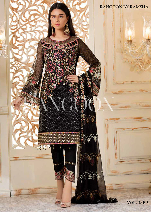 D-306 Black Magic - Ramsha Rangoon vol 3 Unstitched Pakistani designer chiffon collection wedding Eid Partywear - Memsaab Online